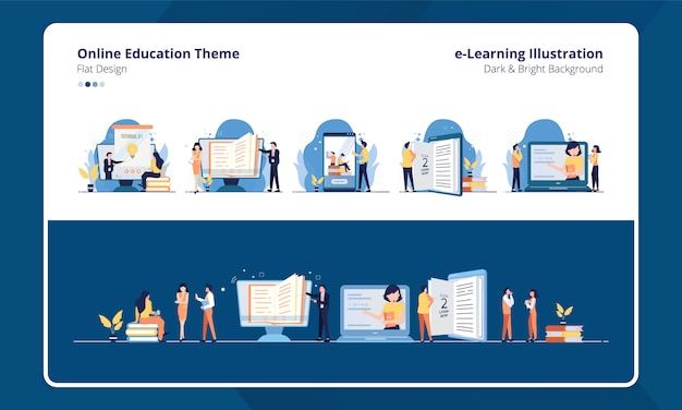 Conjunto de diseño plano de colección con e-learning o tema de educación en línea