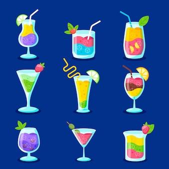 Conjunto de diseño plano de deliciosos cócteles.