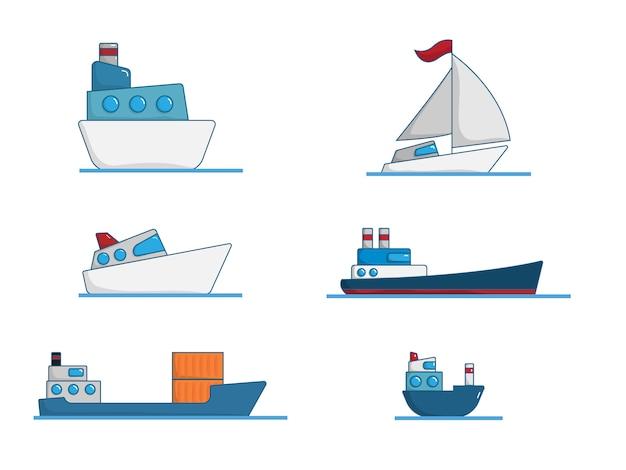 Conjunto de diseño plano de dibujos animados de barco