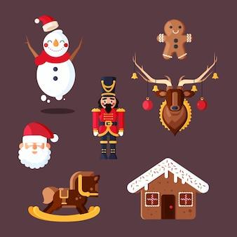 Conjunto de diseño plano de elementos navideños
