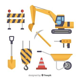 Conjunto de diseño plano de equipo de construcción.