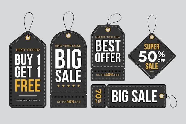 Conjunto de diseño plano de etiquetas de ventas.