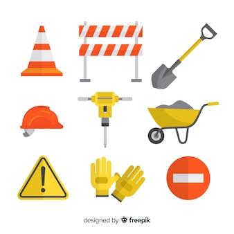 Conjunto de diseño plano de herramientas de construcción