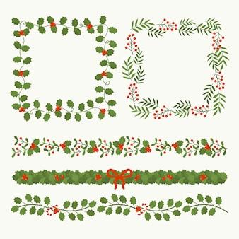 Conjunto de diseño plano de marcos de navidad