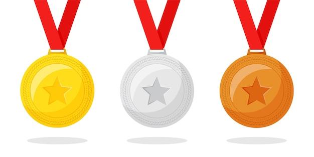 Conjunto de diseño plano de medallas de oro, plata y bronce.