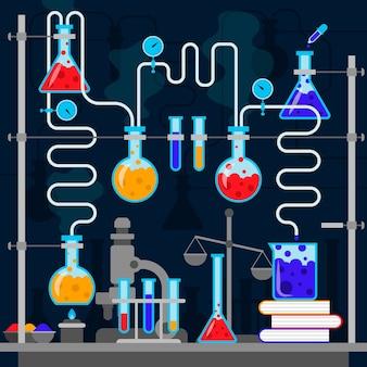 Conjunto de diseño plano de objetos de laboratorio de ciencias