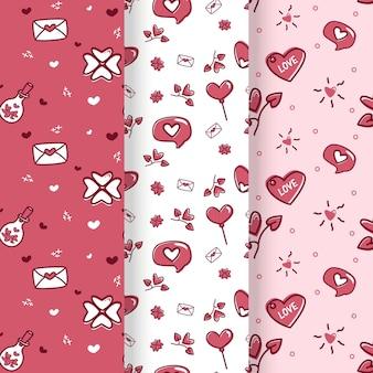 Conjunto de diseño plano de patrón de corazón