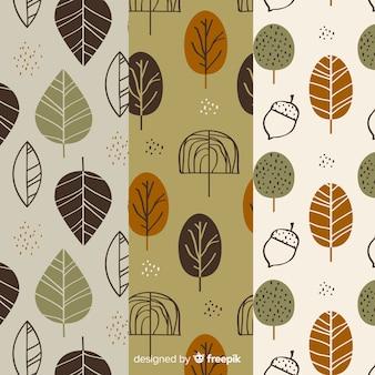 Conjunto de diseño plano de patrones de otoño