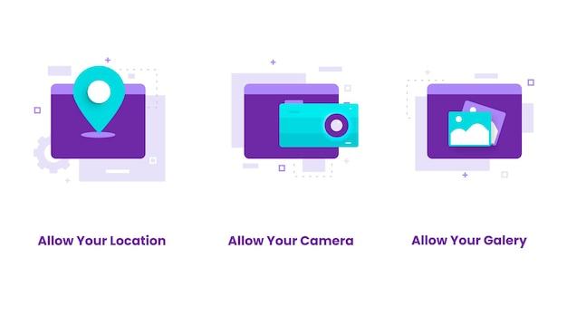 Conjunto de diseño plano de permitir ubicación, cámara, galería. ilustraciones para sitios web, páginas de destino, aplicaciones móviles, carteles y pancartas.