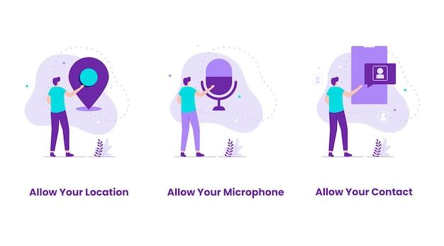 Conjunto de diseño plano de permitir ubicación, micrófono, contacto. ilustraciones para sitios web, páginas de destino, aplicaciones móviles, carteles y pancartas.
