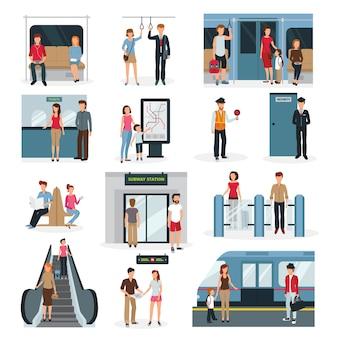 Conjunto de diseño plano con personas en diferentes situaciones en metro.