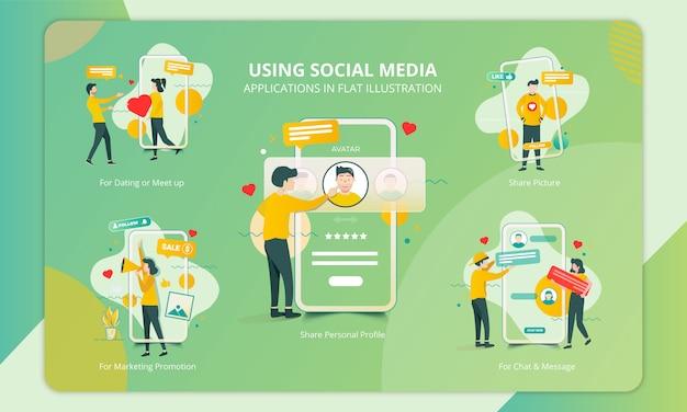 Conjunto de diseño plano para personas que utilizan la aplicación de redes sociales