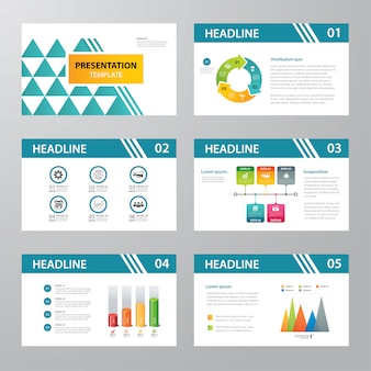 Conjunto de diseño plano de plantilla de presentación de infografía