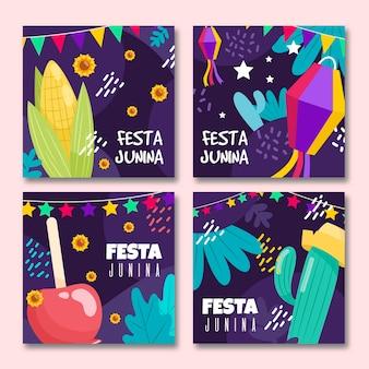 Conjunto de diseño plano de tarjetas de festa junina