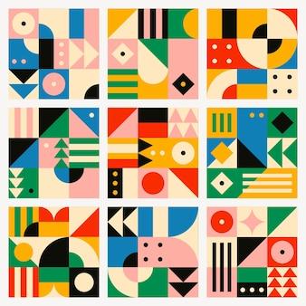 Conjunto de diseño plano de vector de patrones sin fisuras inspirado en la bauhaus