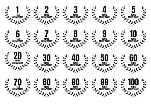 Conjunto de diseño de plantilla de aniversario con evento de celebración