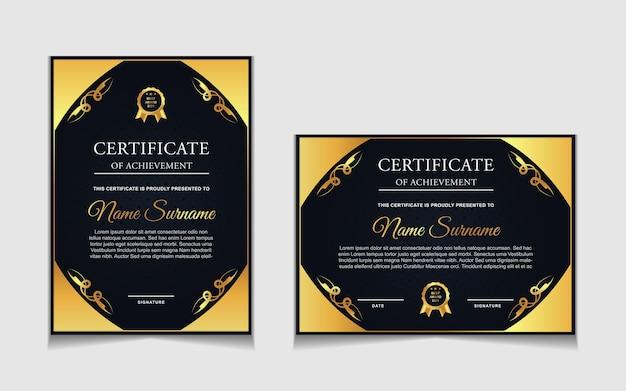 Conjunto de diseño de plantilla de certificado con formas modernas azul marino y de lujo