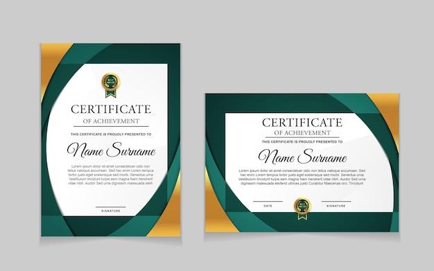 Conjunto de diseño de plantilla de certificado con formas modernas verdes y de lujo