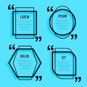 Conjunto de diseño de plantilla de citas de estilo de línea creativa