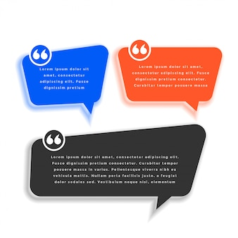 Conjunto de diseño de plantilla de cotización de estilo de burbuja de chat