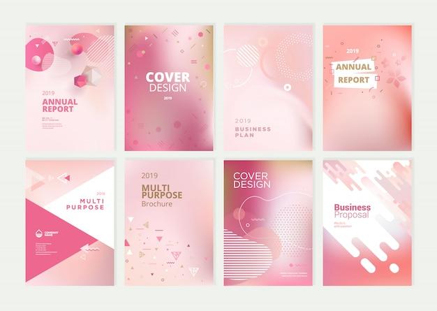 Conjunto de diseño de plantilla de cubierta de informe anual de belleza