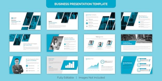 Conjunto de diseño de plantilla de diapositiva de presentación comercial creativa