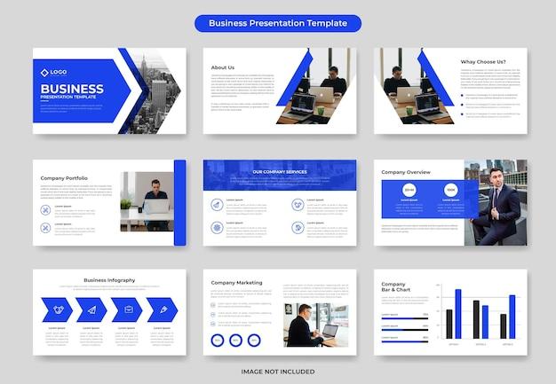 Conjunto de diseño de plantilla de diapositiva de presentación comercial mínima