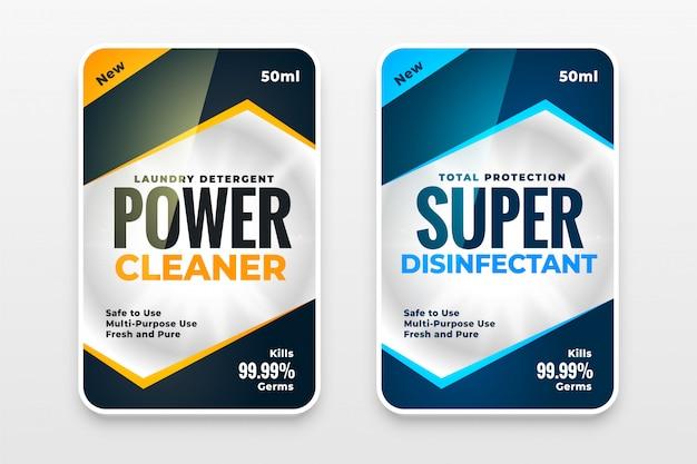 Conjunto de diseño de plantilla de etiquetas de lavadora de limpiador desinfectante