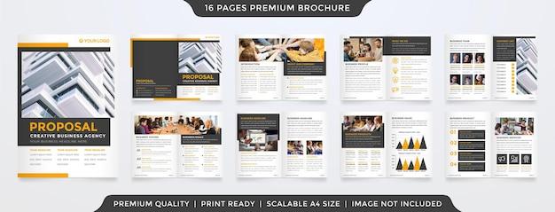 Conjunto de diseño de plantilla de folleto bifold a4 con estilo minimalista y uso de concepto de diseño limpio para presentación y propuesta de negocios