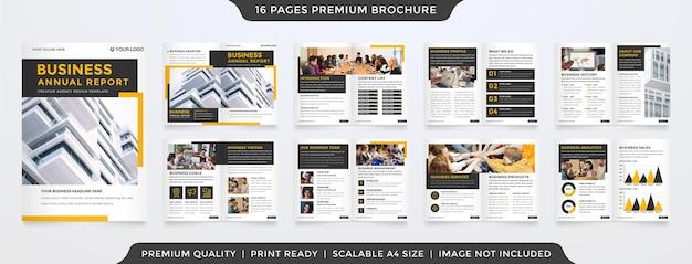Conjunto de diseño de plantilla de folleto comercial con uso de concepto minimalista y limpio para propuesta comercial
