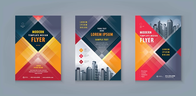 Conjunto de diseño de plantilla de folleto o volante de negocios. folleto corporativo plantilla tamaño a4