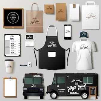 Conjunto de diseño de plantilla de identidad corporativa de camión de comida. plantilla de marca.
