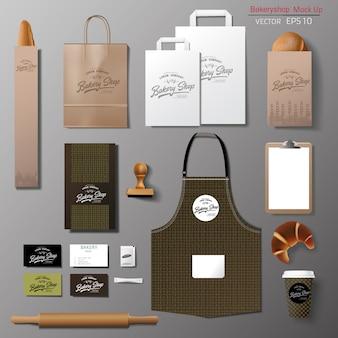 Conjunto de diseño de plantilla de identidad de marca corporativa de panadería.