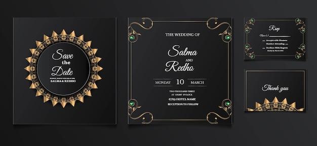 Conjunto de diseño de plantilla de invitación de boda elegante