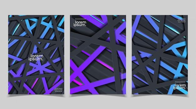 Conjunto de diseño de plantilla de portada en estilo futurista