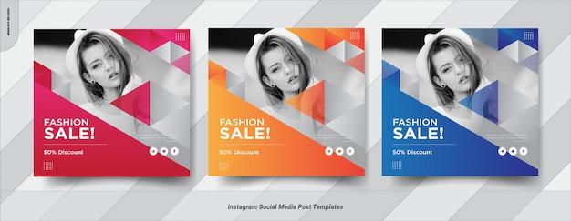 Conjunto de diseño de plantilla de publicación de banner de redes sociales de fashion-insta