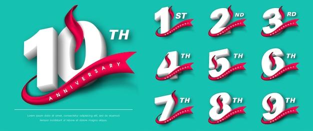 Conjunto de diseño de plantillas de aniversario