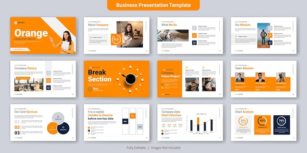 Conjunto de diseño de plantillas de diapositivas de presentación de negocios creativos