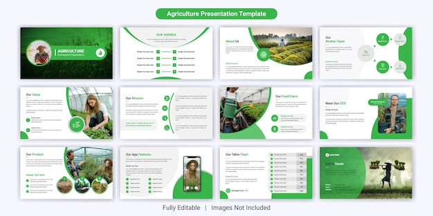 Conjunto de diseño de plantillas de diapositivas de presentación de powerpoint de agricultura moderna