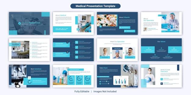 Conjunto de diseño de plantillas de diapositivas de presentación de powerpoint médica