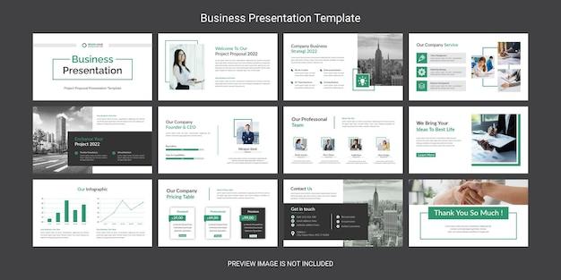 Conjunto de diseño de plantillas de diapositivas de presentación de powerpoint de negocios creativos y modernos