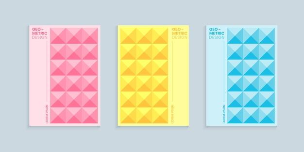 Conjunto de diseño de portada abstracta geométrica