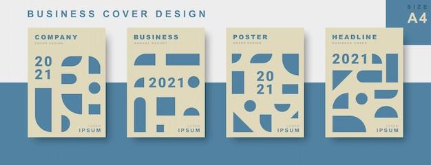 Conjunto de diseño de portada comercial con forma geométrica