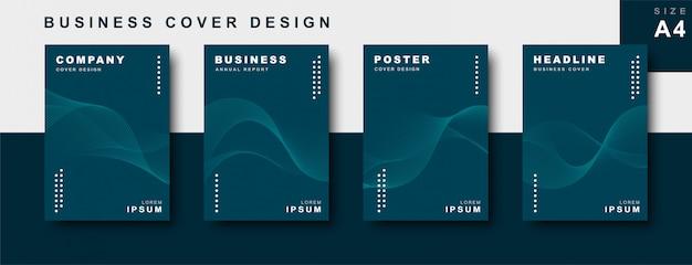 Conjunto de diseño de portada comercial con líneas onduladas