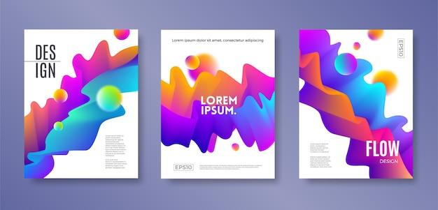 Conjunto de diseño de portada con formas abstractas de flujo multicolor.