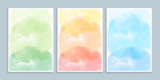 Conjunto de diseño de portada de pintura de acuarela