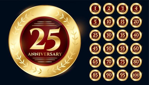 Conjunto de diseño premium de colección de logotipo de aniversario de oro