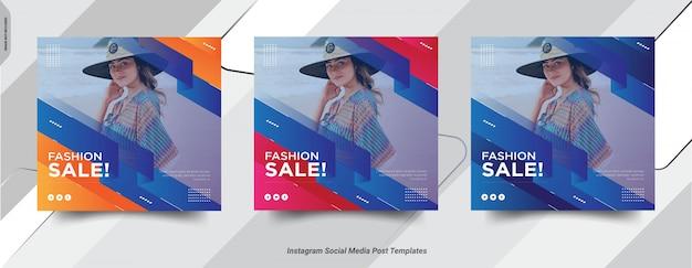 Conjunto de diseño de publicaciones de redes sociales de publicaciones de fashion-insta