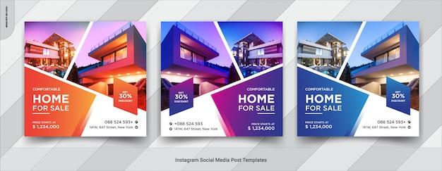 Conjunto de diseño de publicaciones de redes sociales para venta de bienes raíces o casas
