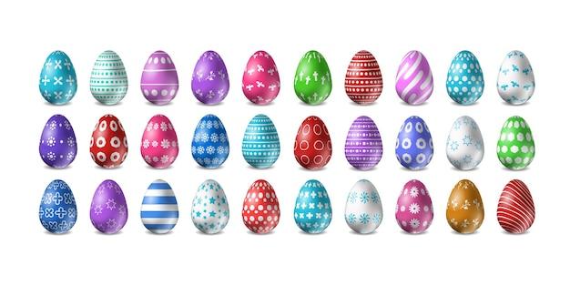 Conjunto de diseño realista de huevos de pascua aislados